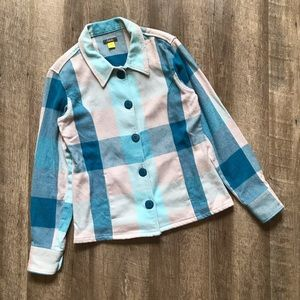 Cabelas Blue Plaid Jacket w Pockets Size Small